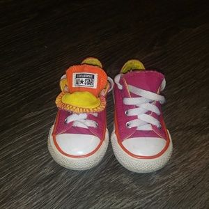 Toddler double tongue converse pink/orange/yellow